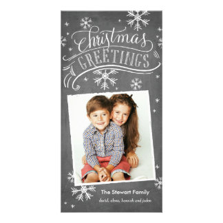 Chalkboard Greetings 1-Photo Snowflake Holiday Custom Photo Card