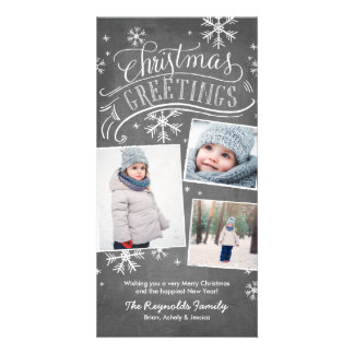 Chalkboard Greetings 3-Photo Snowflake Holiday Customised Photo Card
