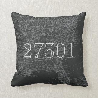 Chalkboard Grey Eastern US Map Zip Code Pillow