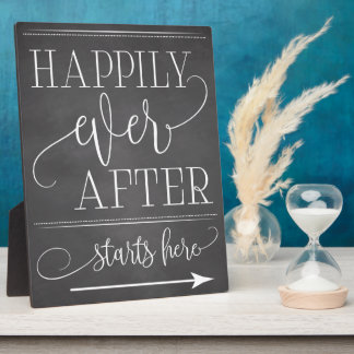 Chalkboard Happily Ever After Starts Here Sign Plaque