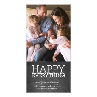 Chalkboard - Happy Everything One Vertical Photo Photo Card Template