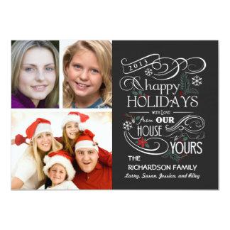 Chalkboard Happy Holiday Flat 3-Photo Cards 11 Cm X 16 Cm Invitation Card