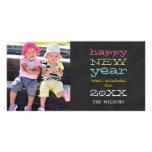 Chalkboard Happy New Year   Holiday Photo Card