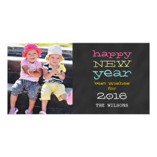 Chalkboard Happy New Year | Holiday Photo Card