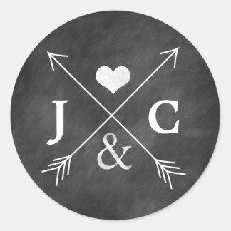 Chalkboard Heart Arrows Initials Sticker