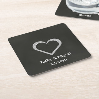 Chalkboard Heart Coasters Wedding Square Paper Coaster