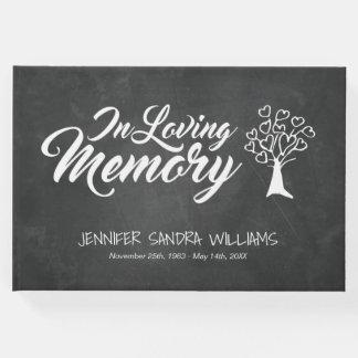 Chalkboard Heart Filled Tree In Loving Memory Guest Book