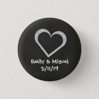 Chalkboard Heart Wedding Button Badge Favour