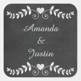 Chalkboard Heart Wedding Personalized Envelope Square Sticker