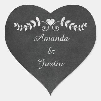 Chalkboard Heart Wedding Personalized Envelope Heart Sticker