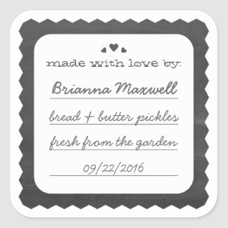 Chalkboard Hearts Food Gift Label Square Sticker