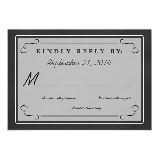 Chalkboard Hearts Monogram RSVP Invitation