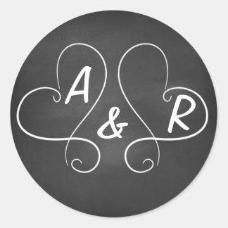 Chalkboard Hearts Round Sticker