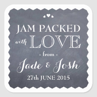 Chalkboard Hearts Wedding Favor Jam Jar Sticker