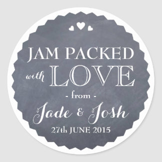 Chalkboard Hearts Wedding Favor Jar Round Sticker
