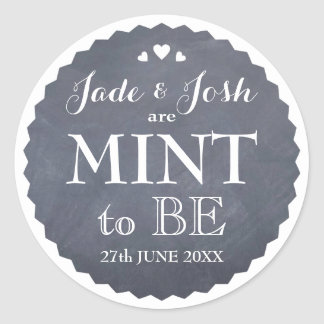 Chalkboard Hearts Wedding Mint Favor Round Round Sticker