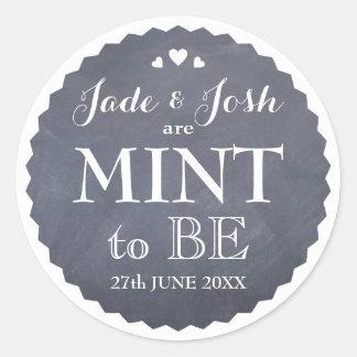 Chalkboard Hearts Wedding Mint Favor Round Round Sticker