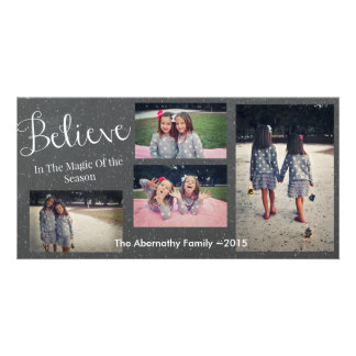 Chalkboard Holiday Christmas We Believe Photo Card