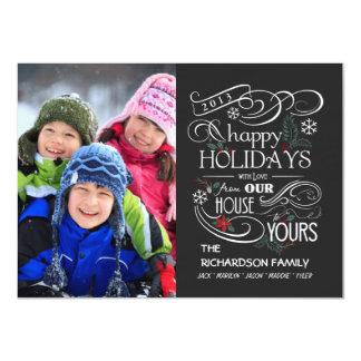 Chalkboard Holiday Flat Photo Cards 11 Cm X 16 Cm Invitation Card
