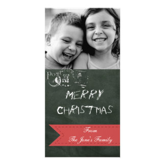 Chalkboard Holiday Photo Christmas Wishes card Photo Cards