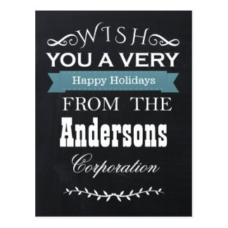 chalkboard Holidays Corporate Greeting PostCards