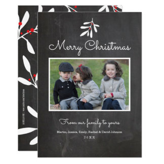 Chalkboard Holly & Berries Merry Christmas 2017 Card