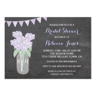 Chalkboard Hydrangea Mason Jar BridalShower Invite