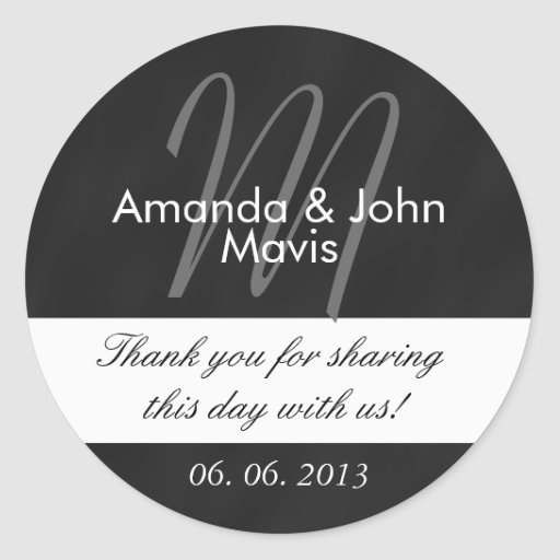 Chalkboard Initial Wedding Favor Thank You Stickers
