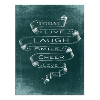 Chalkboard Inspirational - Live, Laugh Postcard
