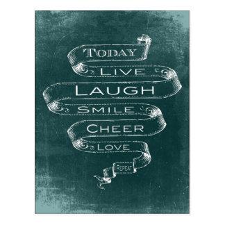 Chalkboard Inspirational - Live, Laugh Postcard