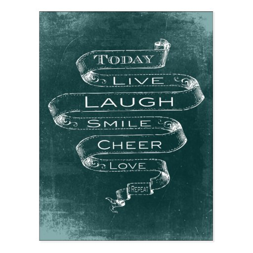 Chalkboard Inspirational - Live, Laugh Post Card