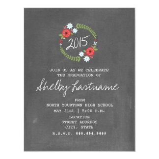 Chalkboard Inspired Floral Photo Graduation 4.25x5.5 Paper Invitation Card