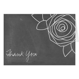 Chalkboard Inspired Rose Thank You Card