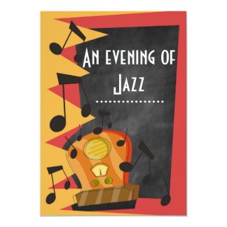 Chalkboard Jazz Blues Theme Party invitations