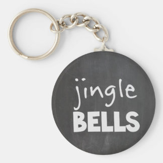 Chalkboard Jingle Bells Basic Round Button Key Ring