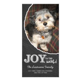 Chalkboard Joy to the World Photo Frame Personalized Photo Card