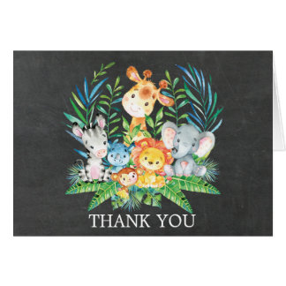Chalkboard Jungle Baby Shower Thank You Note Card