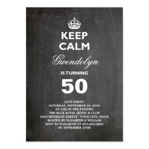 Funny 50th birthday invitations zazzle chalkboard keep calm funny 50th birthday invite filmwisefo