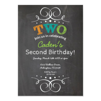 Chalkboard Kids Birthday Party Invitation