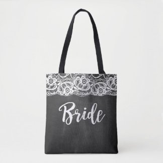 Chalkboard Lace Bride Wedding Party Tote Tote Bag