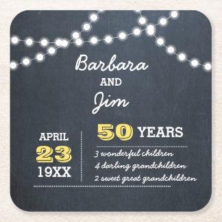 Chalkboard Lights 50th Anniversary Favor Coasters