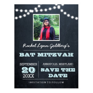 Chalkboard Lights Aqua Bat Mitzvah Photo Save Date Postcard