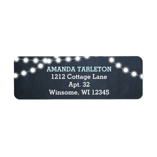 Chalkboard Lights Aqua Personalised Return Address Label
