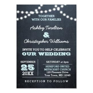 Chalkboard Lights Aqua Wedding Invitation