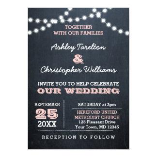 Chalkboard Lights Pink Wedding Invitation