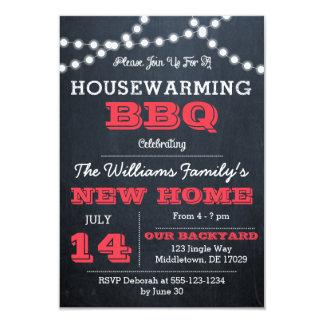 Chalkboard Lights Red Housewarming Invitations