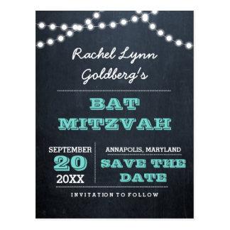 Chalkboard Lights Teal Bat Mitzvah Save the Date Postcard