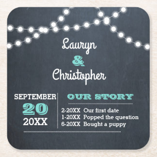 Chalkboard Lights Teal Personalised Wedding Square Paper Coaster