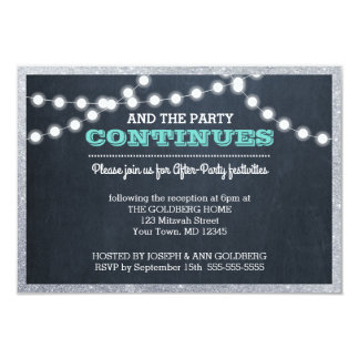 Chalkboard Lights Teal Silver Border After Party Card