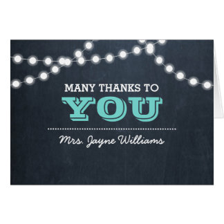 Chalkboard Lights Teal Thank You Note Card